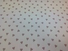 Clarke and Clarke/Studio g. Taupe HEARTS Cotton Fabric for Curtain/Upholstery.
