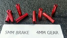 8 x Red Aluminium Outer Housing Brake Gear Wire Cable End Caps (4x5mm) + (4x4mm)
