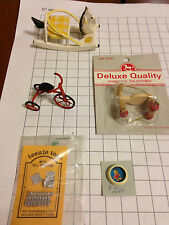 Lot Dollhouse miniatures toys bike rocking horse scooter Winnie the Pooh bowl