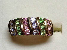 Tanzanite *Pink Tourmaline Green Garnet 10k Gold Channel Estate Ring Band Sz 6