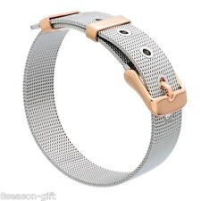 1PC Stainless Steel Two Tone Mesh Belt Buckle Bangle Bracelet Watch Band 21cm