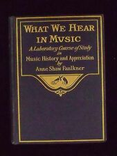 WHAT WE HEAR IN MUSIC By Anne Shaw Faulkner 1916 Edition