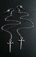 "Tiny Silver Dagger Long 6.5"" Chain Dangle Hook Earrings Wiccan Goth Pagan"