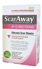 ScarAway C-Section Scar Treatment Strips, Silicone Adhesive Soft Fabric 4-Sheets
