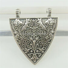 19495 5pcs Vintage Silver Alloy Leaf Flower Retro Shield Filigree Pendant Charm