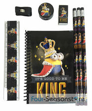 Minion King Bob Stationary Set Pecil Eraser Ruler School Supplies - Black