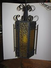 Vintage 1950's Wrought Iron Gothic Swag Hanging Lamp Spanish Revival Amber XLT