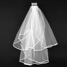 Wedding Bridal Veil Satin Edge With Comb Elbow Elegant Cathedral White Ivory 2T