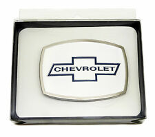 Chevrolet Belt Buckle Chevy White Blue Spec Cast Officially Licensed Collectible