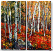 Abstract Metal Wall Art Sculpture Brushed Metal Home Decor Birch Trees Red