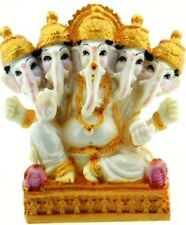 Lord Ganesh The Elephant god statue with 5 heads figure in Resin made in India