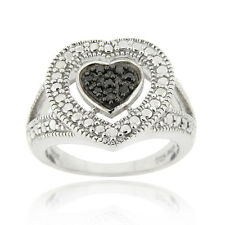 925 Silver 1/10ct Black Diamond Heart Ring Size 10