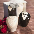 Cute Bride and Groom Ceramic Cruet Spice Salt Pepper Shakers Set in Gift Box New