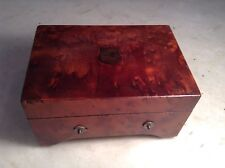 Antique Little 2-Tune Swiss Music Box Burled Wood Case