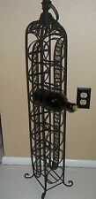 OLD ORNATELY DESIGNED WROUGHT IRON WINE BOTTLE RACK OR ROLLING PIN DISPLAY STAND