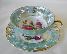 Royal Sealy Bluish Green Luster ~ PINK ROSE ~ 3 Footed Floral Teacup tea cup