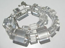 VINTAGE RETRO CHUNKY GRADUATING GEOMETRIC CYLINDER CLEAR LUCITE BEADS NECKLACE