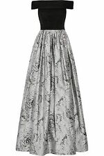 ALICE + OLIVIA Meredith Ruched Gown Black Gray Silk Off Shoulder Ball Gown Sz 4