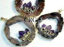 Large Gold Plated Geode Slice Pendant w/ 3 Fixed Amethyst Points (GD18BT)