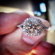 3.00 Ct. Round Cut Halo Diamond Engagement Ring - GIA Certified & Appraised