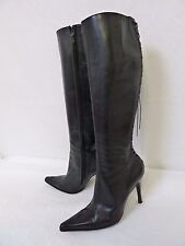 DAVID ACKERMAN Paris Women's Black Leather Fully Zipped Heel High Boots Size 7.5