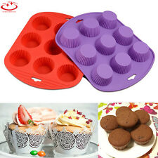 9 Cup Silicone Mold Muffin Pudding Cupcake Mold Bakeware Cake Pan Baking Tray