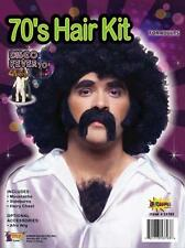 BLACK MOUSTACHE SIDE BURNS CHEST HAIR DISCO KIT COSTUME DRESS FM53793