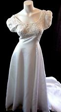 EDEN BRIDALS WOMENS WHITE LACE SATIN & BEADED PEARLS WEDDING DRESS SIZE 12