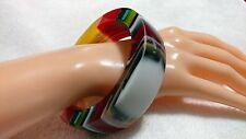 Red,White,Green,Yellow Vertical Striped Resin bangle. My Way Designs