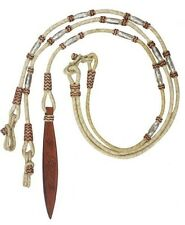 Showman Braided Natural Rawhide Romal Reins w/ Leather Poppers & Silver Bead NEW