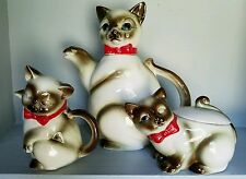 VINTAGE KASUGA WARE SIAMESE CAT  KITTENS TEAPOT, SUGAR, and CREAMER SET