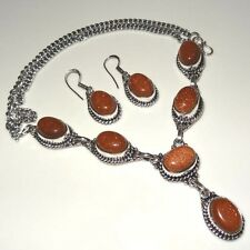 "ROYAL !! 925 Sterling Silver Plated Sunstone NECKLACE & Earring Set 18"" LONG"