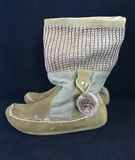 Zara Suede/Knitted Boots UK Size 2.5 / EUR 35 Khaki