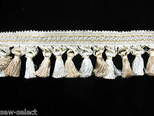 3.25mt cream with light blue & brown shabby tassel fringe curtain trim trimming