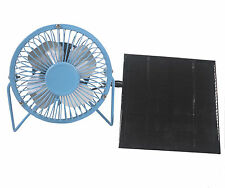 Solar Panel Powered Blue USB 4'' Mini Fan Porable Outdoor Camping Home Cooling