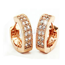 18K Rose Gold Filled Mirco Pave Crystal Heart Shape 14mm Small Hoop Earring H990
