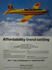 10/1989 PUB PILATUS PC-7 MILITARY TRAINER SWISS AIR FORCE ORIGINAL AD