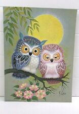 "Vintage 1973 Donald Art Co. K. Chin Print ""Loving Owls"" Lithograph 9"" x 12"" 7516"