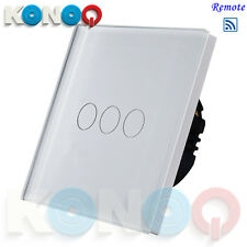 KONOQ Luxury Glass Panel Touch LED Light Switch:REMOTE ON/OFF, White, 3Gang/1Way