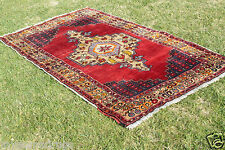 Antique Tent -Woven Unique Wool Pile Tribal Carpet 4'4''x8' Turkey 1900-1939s