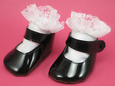 NEW PAIR BLACK DOLL SHOES PLUS WHITE LACE SOCKS FITS AMERICAN GIRL SIZE 18 INCH!
