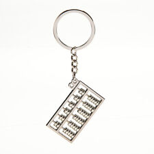 Silvery Chinese Accounting Tool 6 Rows Abacus Key Chain Ring Keychain Keyfob WB