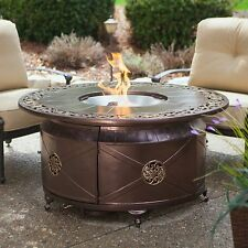 Fire Pit Table Burner Patio Deck Outdoor Fireplace Propane Heater Round Aluminum