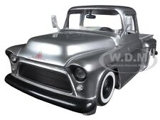 1955 CHEVROLET STEPSIDE PICKUP TRUCK SILVER WITH EXTRA WHEELS 1/24 BY JADA 97230