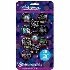 70s Disco Fever Badges/Buttons Party Games Saturday Night 4.2cm 10 PKG 391650