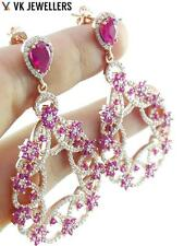 EXCLUSIVE FANCY OTTOMAN TURKISH JEWELRY HANDMADE 925 SILVER RUBY EARRINGS E2025