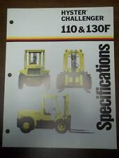 Hyster Lift Truck Brochure~H110F H130F Challenger~Specifications~Catalog 1975