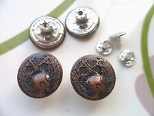 10pcs Button Metal Skull Crucifix NO-SEW Tack Antiqued Copper Tone (19mm) 3/4""