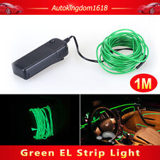 1M Car 12V Green FLEXIBLE NEON LIGHT GLOW EL STRIP TUBE WIRE ROPE&CONTROLLER