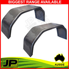 "TRAILER MUDGUARD STEEL SMOOTH PAIR 4 FOLD 9"" WIDE SUIT 13"" OR 14"" WHEELS  BOAT"